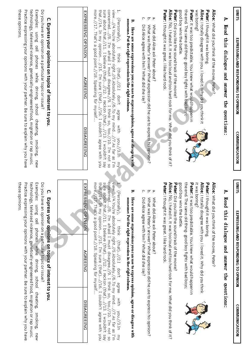 expressing opinion worksheet