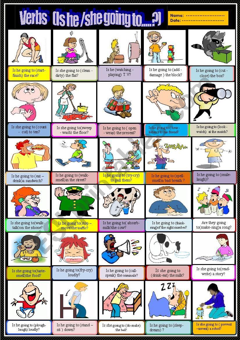 Action verbs Multiple choice  worksheet