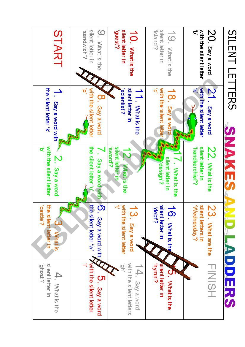 Silent Letters snakes and ladders