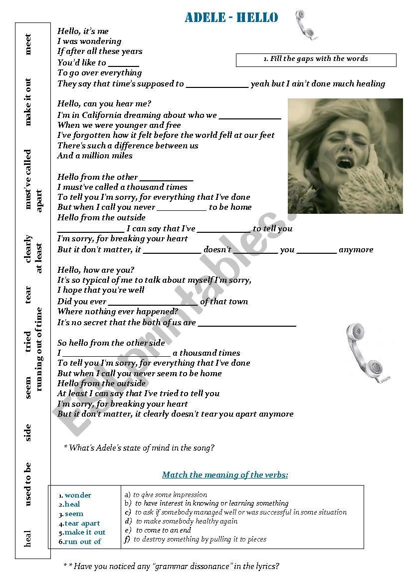 Adele - Hello song (Verb tenses practice) - ESL worksheet by sanasana