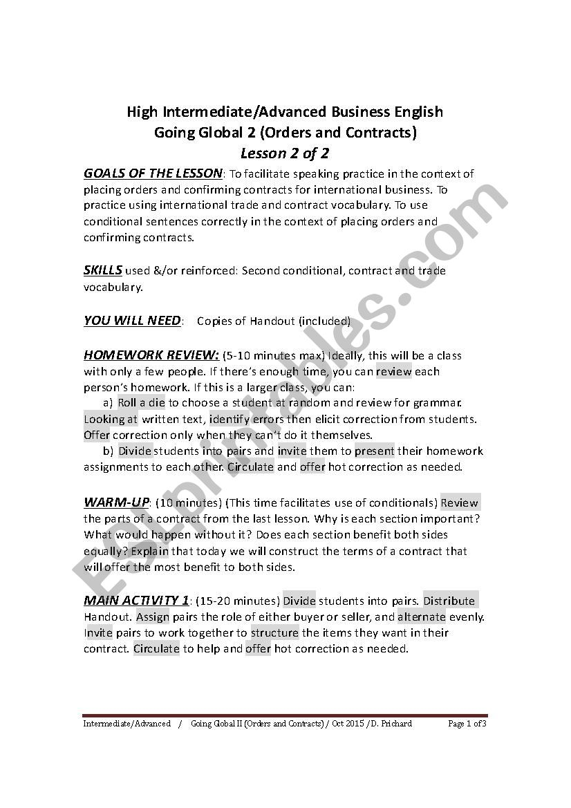 HIGH INTERMEDIATE TO ADVANCED BUSINESS ENGLISH - GOING GLOBAL 2 - LESSON 2 OF 2