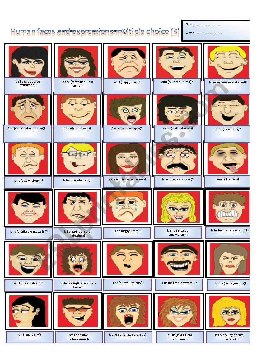 Human faces´expressions - Multiple choice -  part (3)