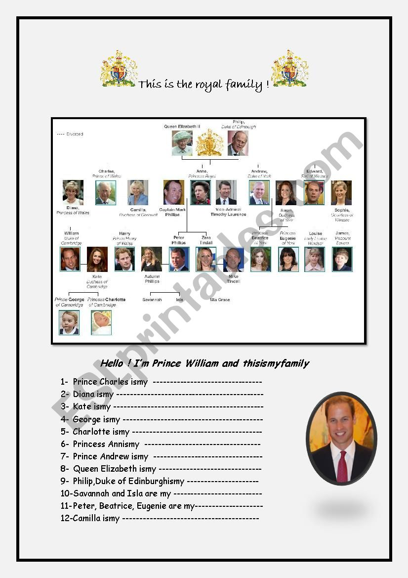royal family worksheet