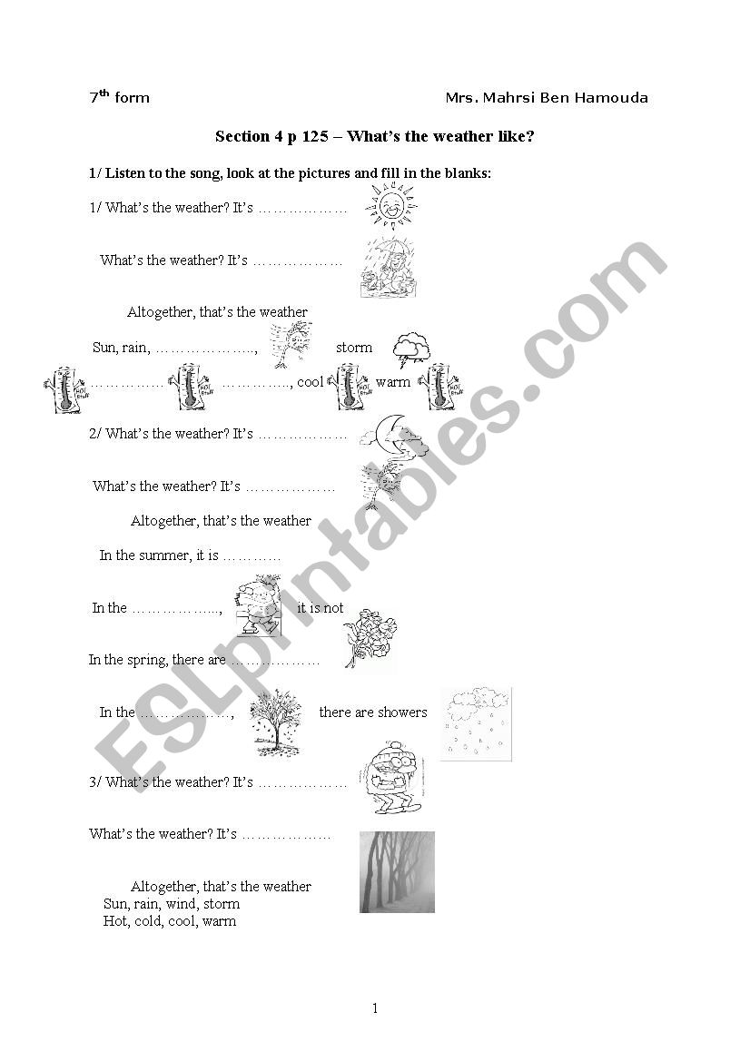 what´s the weather like worksheet