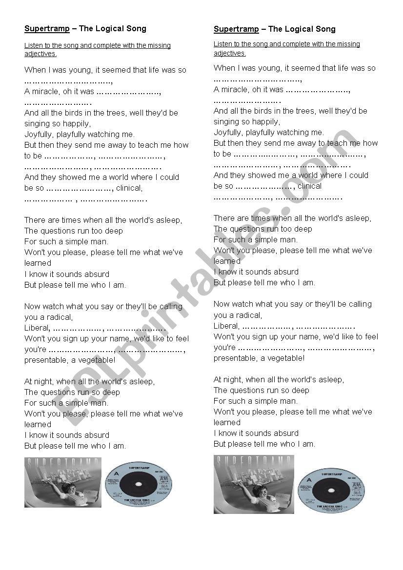 The Logical Song By Supertramp Esl Worksheet By Lu151n174