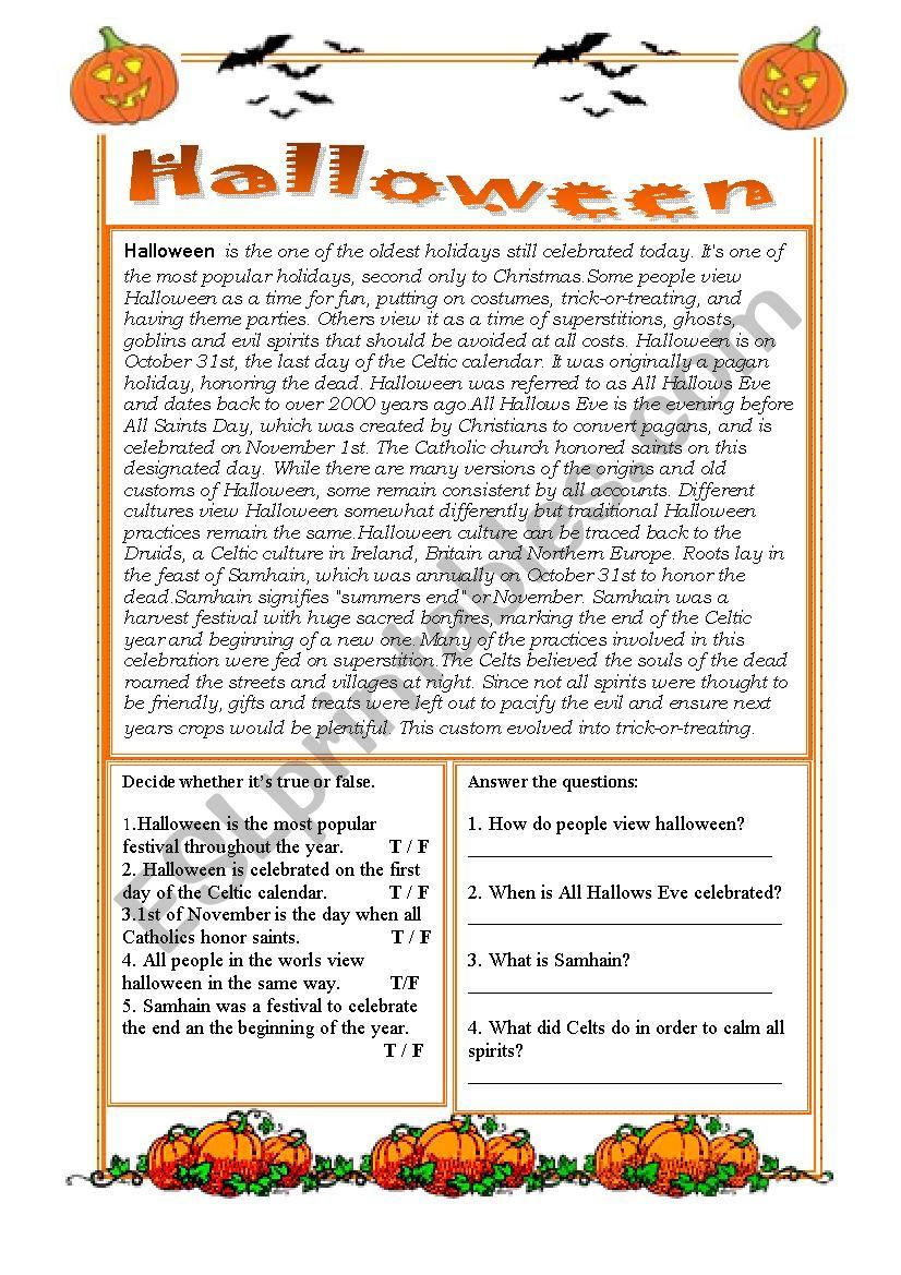 halloween short history - esl worksheetlucybro