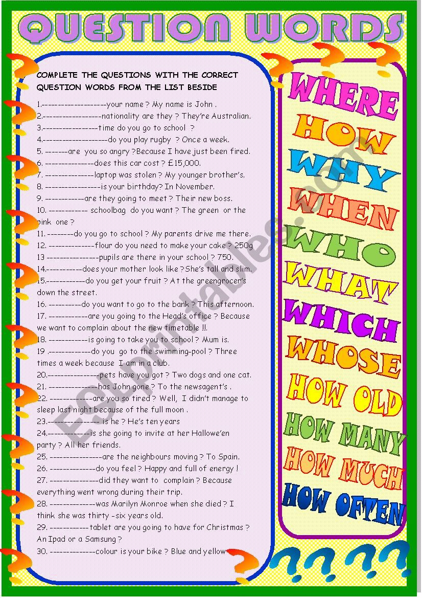 Question words : new practice worksheet