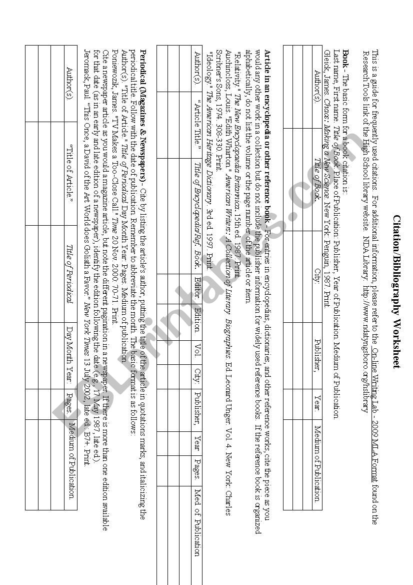 Mla Citation Worksheet Esl Worksheet By Gjoyceh