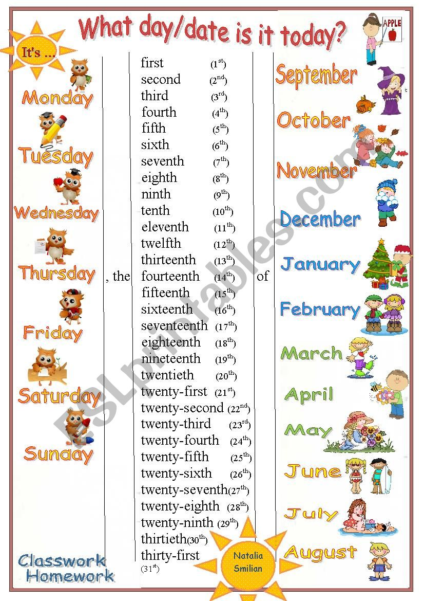 Today´s date worksheet