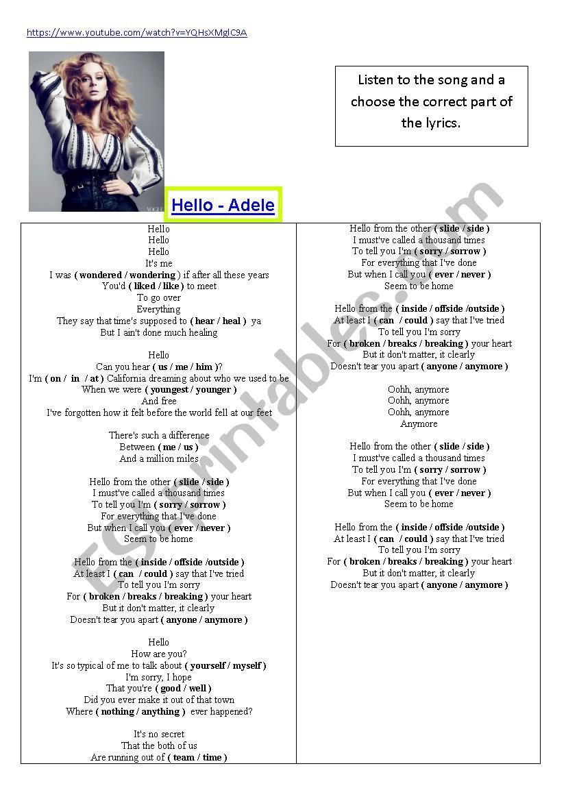 New Song Adele - Hello worksheet