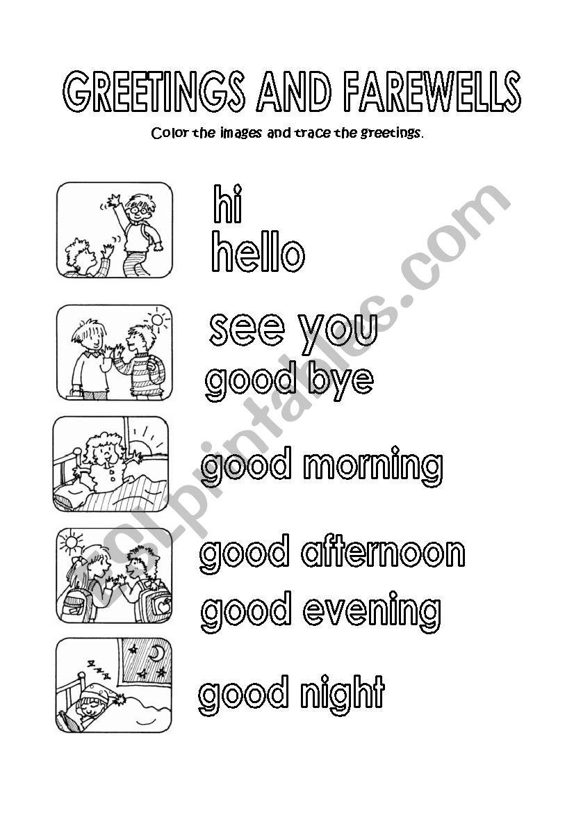 GREETINGSAND FAREWELLS worksheet