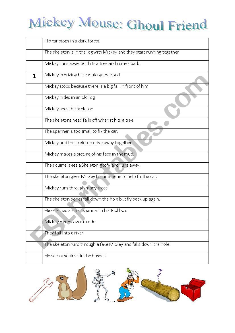 Halloween worksheet for Mickey Mouse video Ghoul Friend