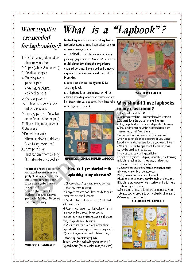 Make a lapbook worksheet