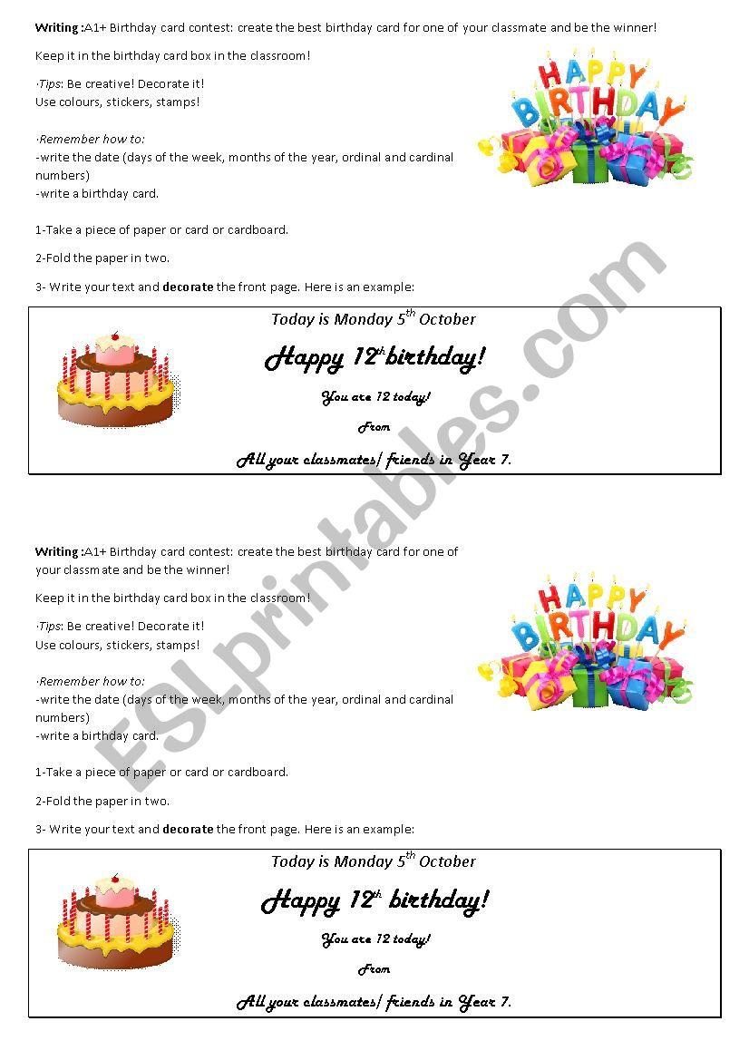 Create A Birthday Card Worksheet