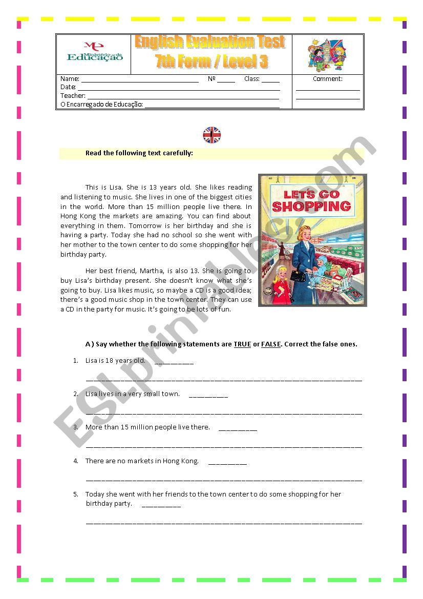 Evaluation Worksheet for 7th grade about shopping