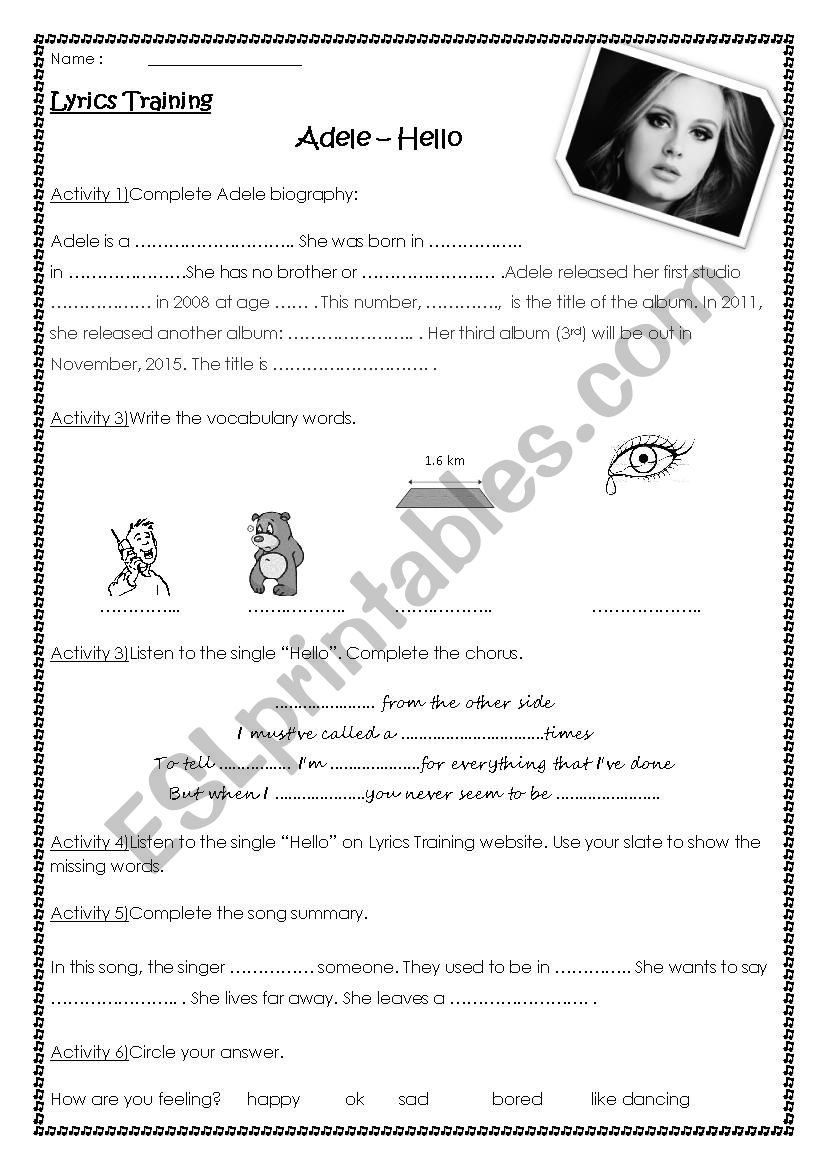 Adele Hello Lyrics training - ESL worksheet by cecile0a