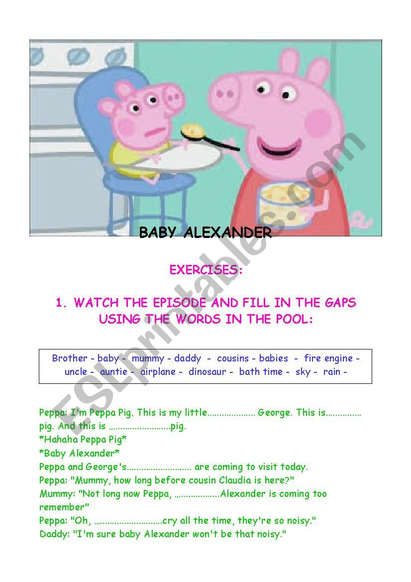 PEPPA PIG - BABY ALEXANDER  worksheet