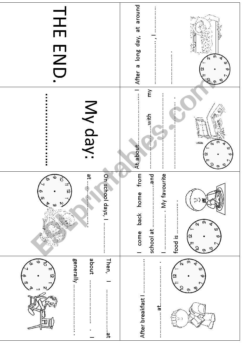 My day! (boys) Mini book worksheet