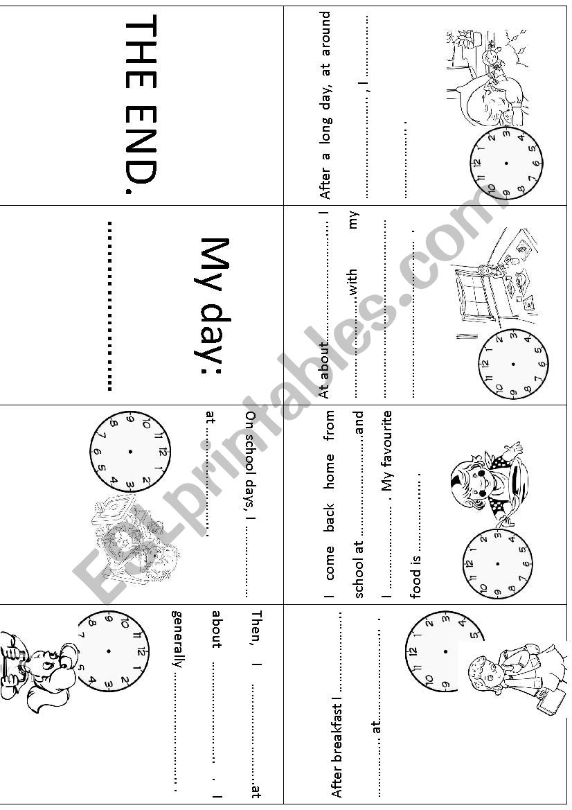 My day! (girls) Mini book worksheet