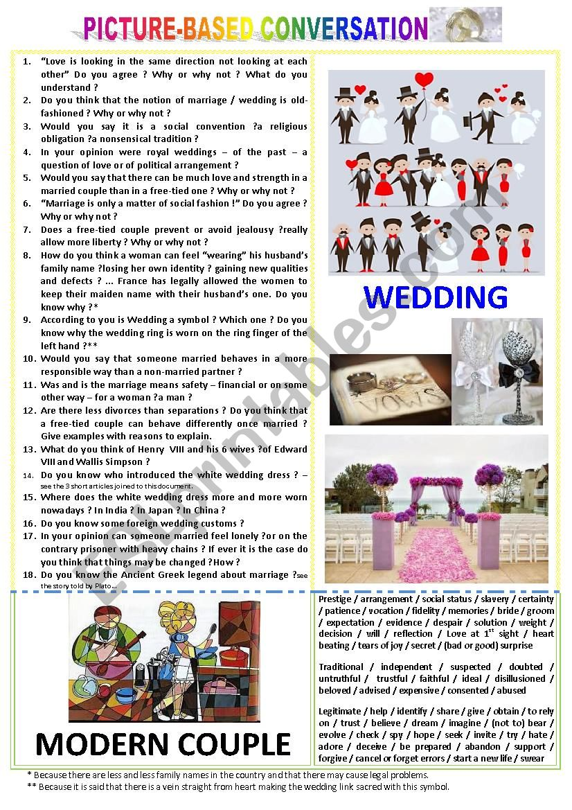Picture-based conversation : topic 91 - wedding vs modern couple.