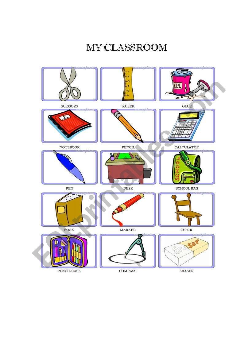 MY CLASROOM FLASHCARDS worksheet