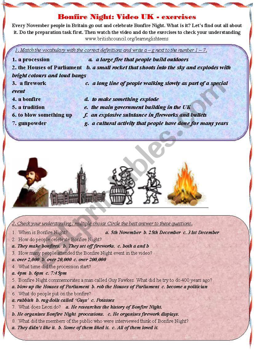 Bonfire Night: UK - exercises worksheet