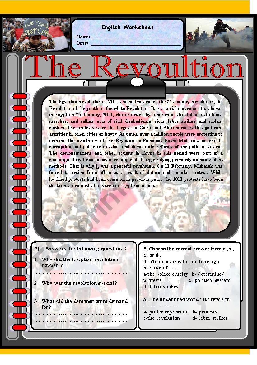 The revolution  worksheet