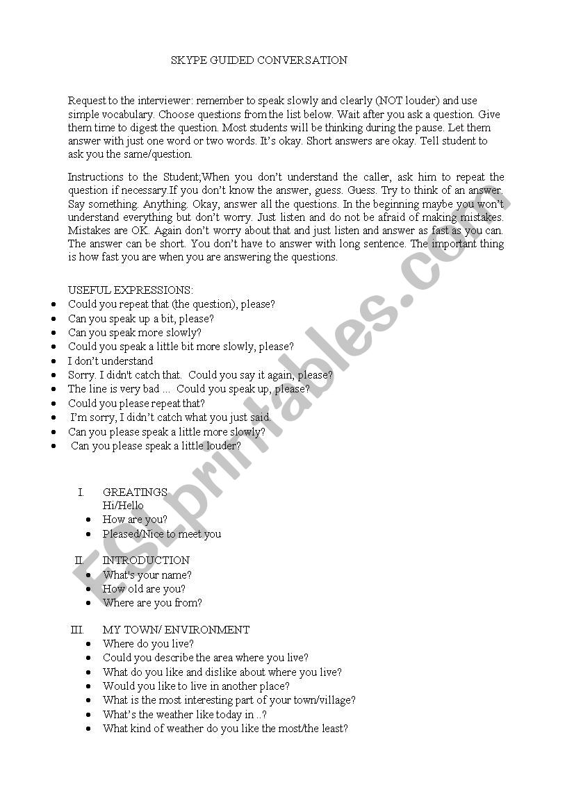 SKYPE GUIDED CONVERSATION QUESTIONS - ESL worksheet by