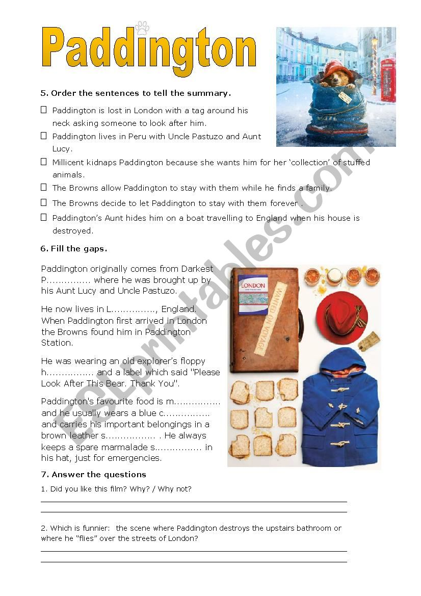 Paddington pt4 worksheet