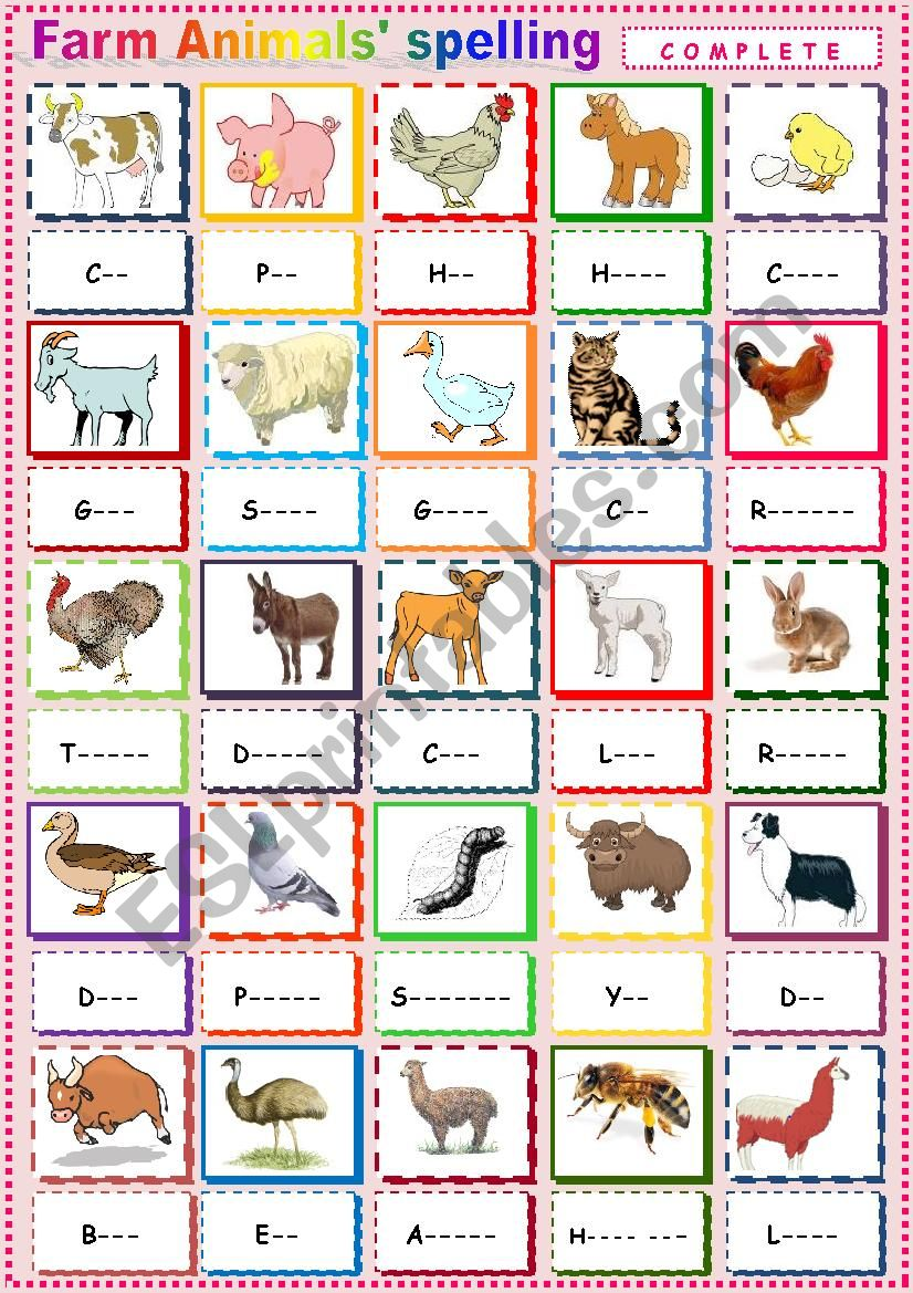 Farm Animals 3 Spelling. worksheet