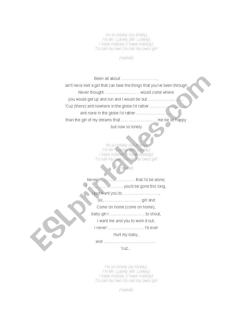 song LONELY, sung by AKON - ESL worksheet by lorenzz