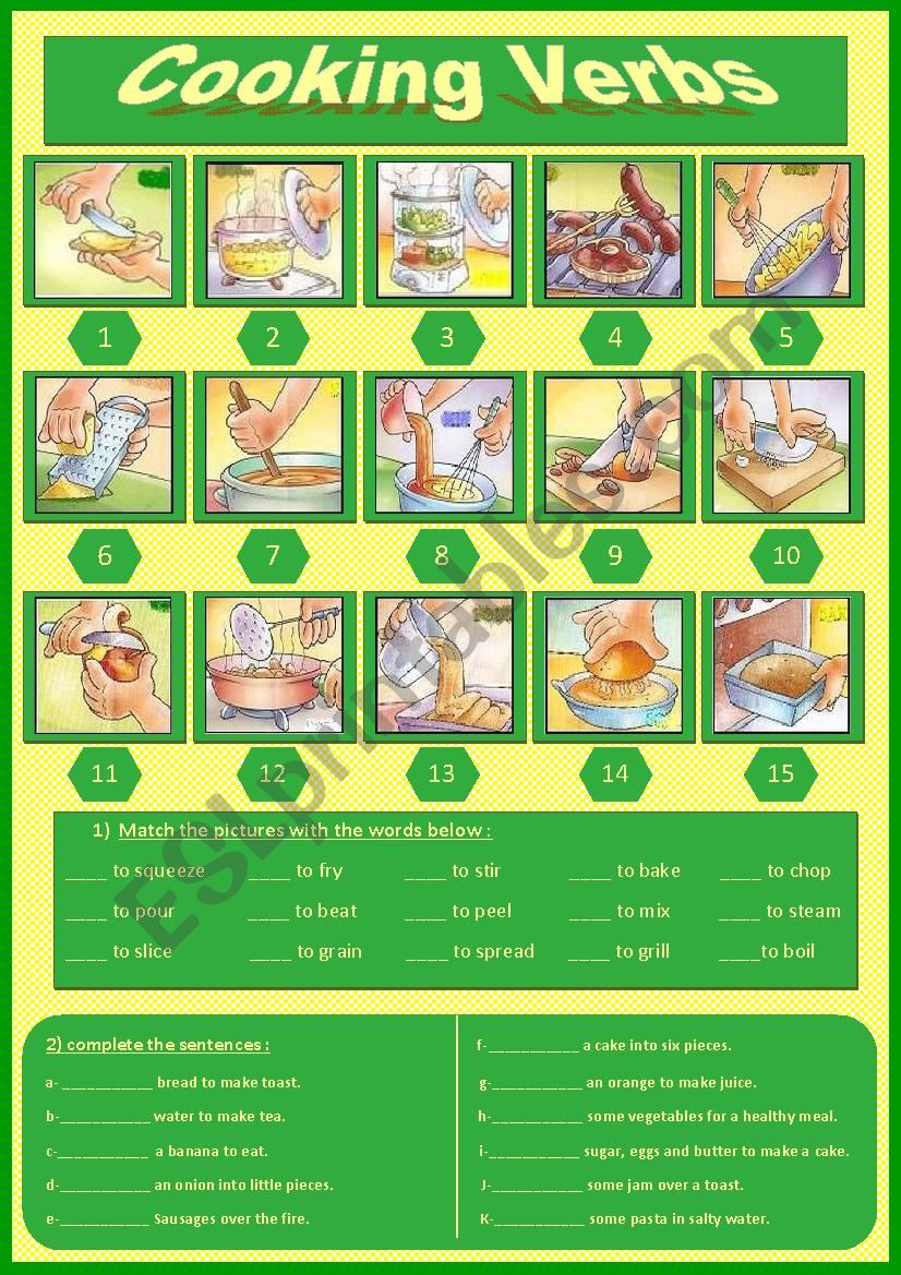 Cooking Verbs (6) worksheet