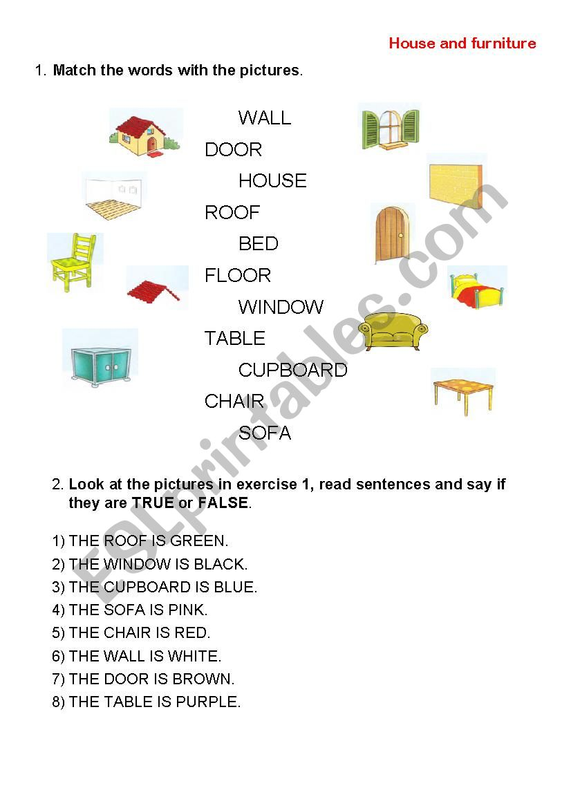 House and furniture worksheet