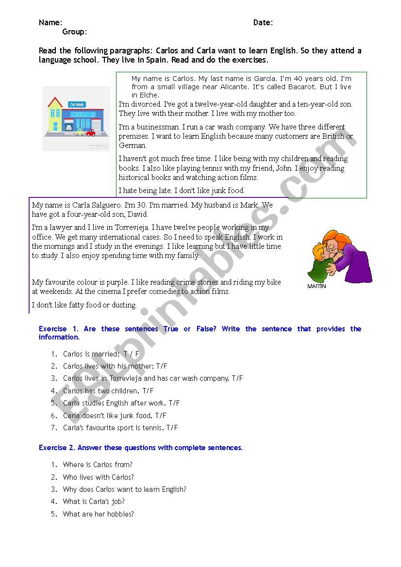 Personal Information Reading & Comprehension