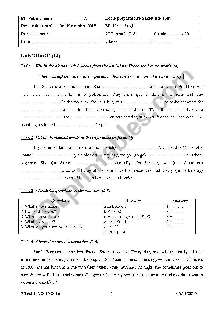 7 Test 1 A 2015-2016 worksheet