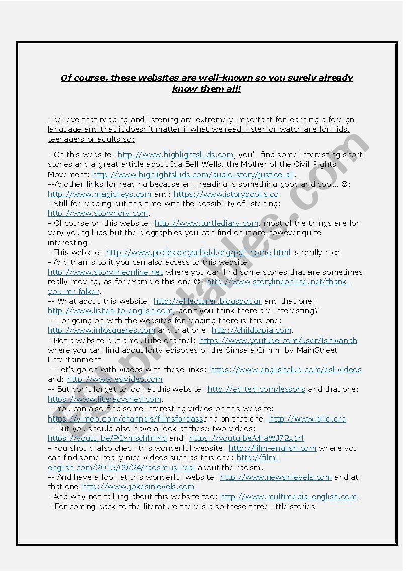 List of useful websites part1/3