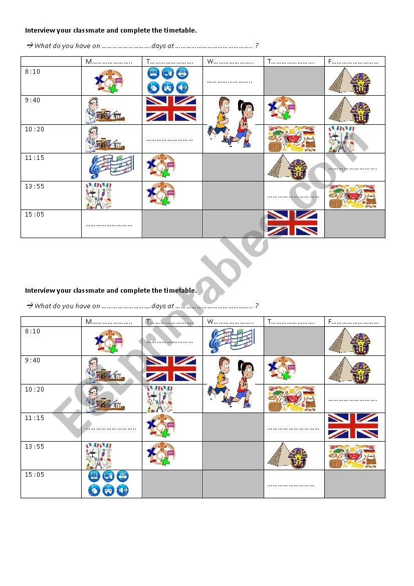 time and timetable pairwork worksheet
