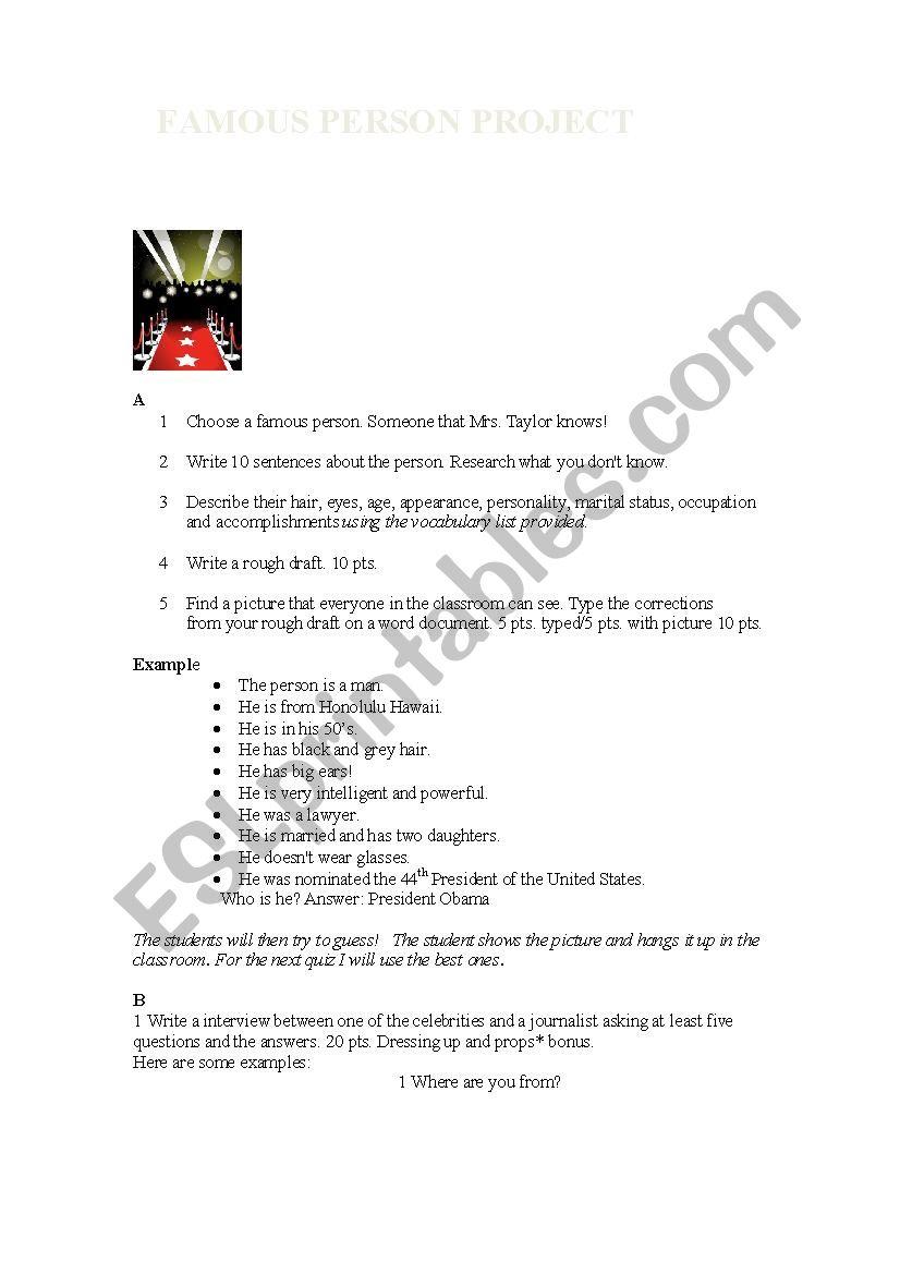 Famous Person Project - ESL worksheet by rainuree