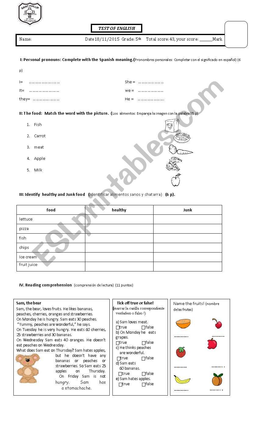 Test 5th - ESL worksheet by yayita2015