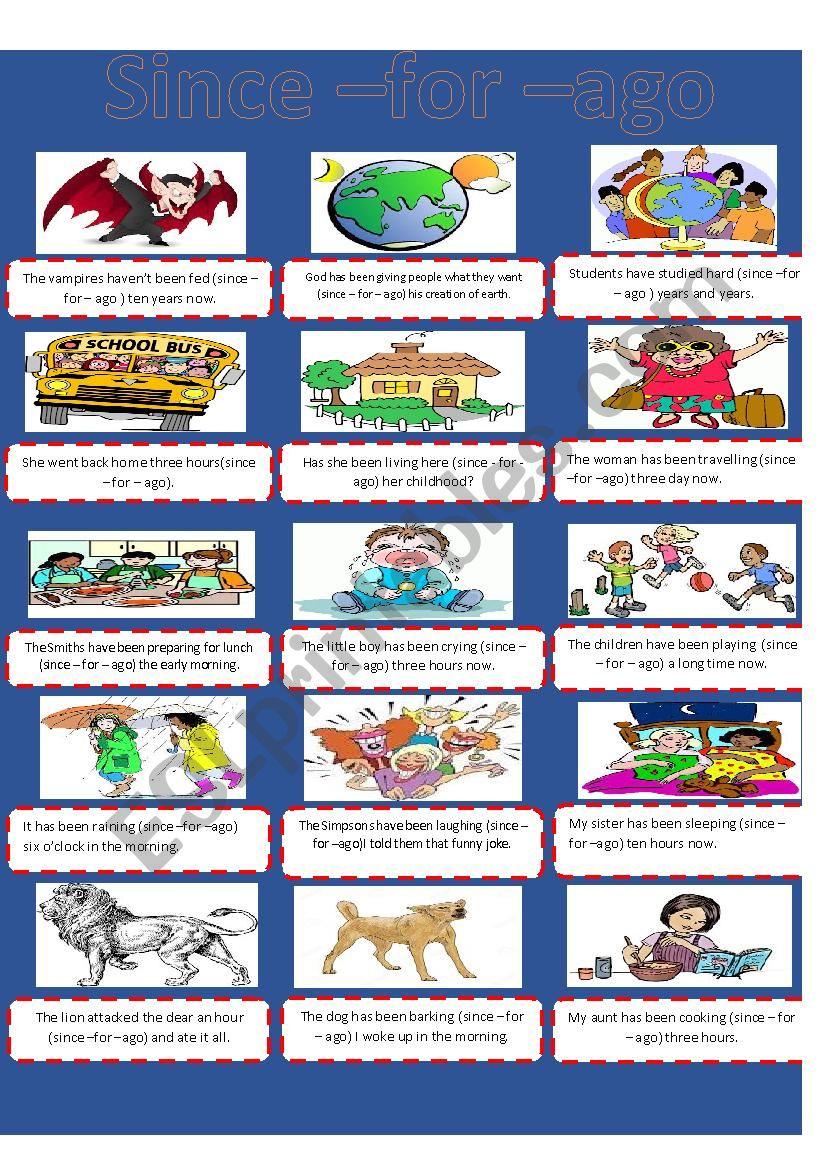 Since - For - Ago  worksheet