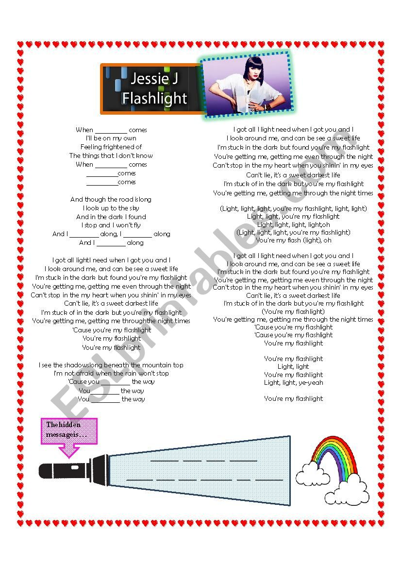 Song: ´Flashlight´ by Jessie J - ESL worksheet by roxmar