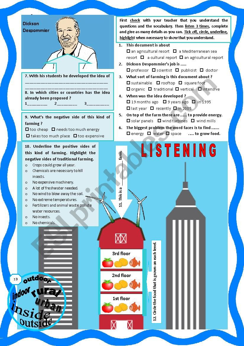 Vertical Farming - Listening + comprehension questions + link + tape script and KEY.