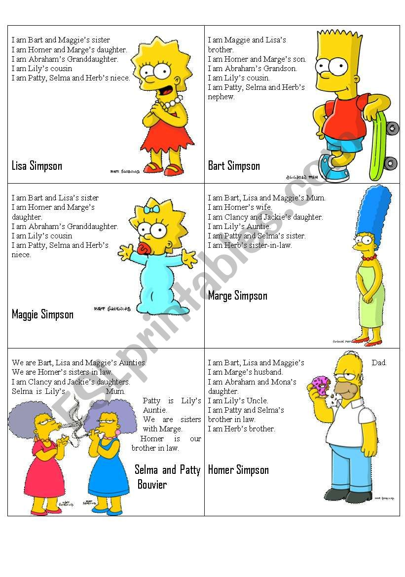 Simpsons Family Flashcards worksheet