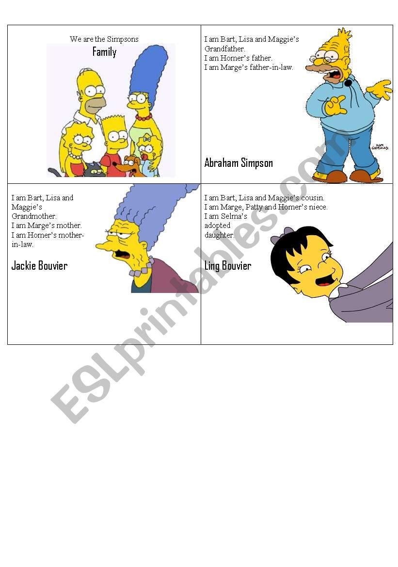 Simpsons Family Flashcards 2 worksheet