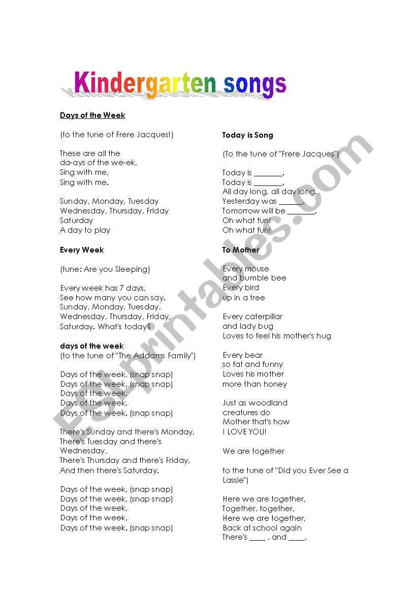 Kindergarten songs worksheet
