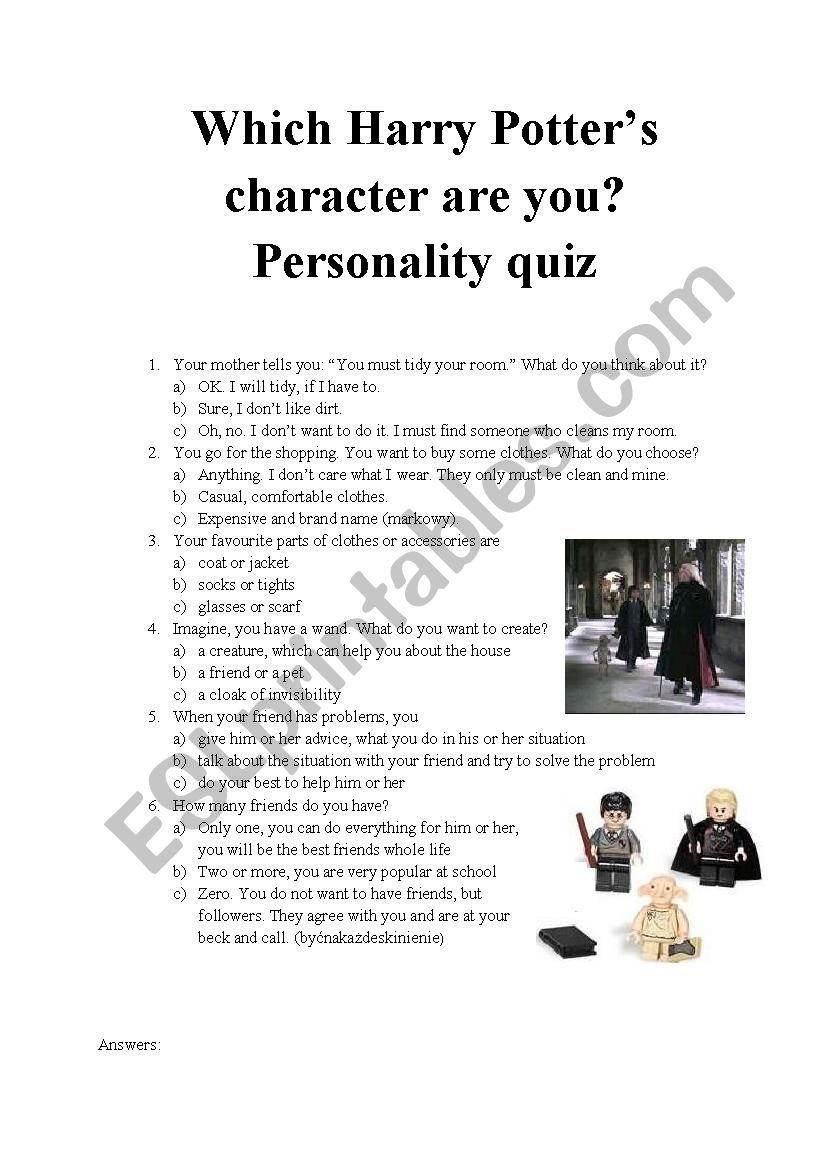 picture about Harry Potter Quiz Printable named Which Harry Potters identity are your self? Character quiz 6