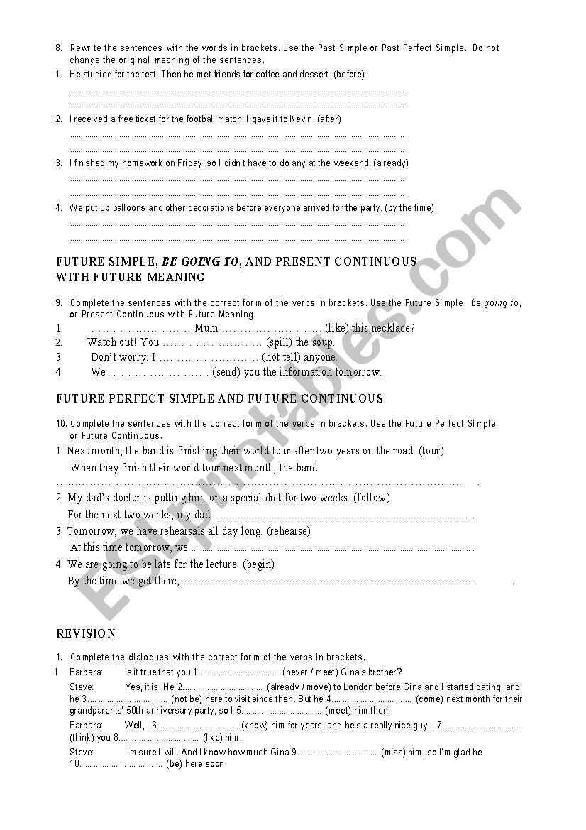Test 4 Eso/ Test for high school - ESL worksheet by Meyling