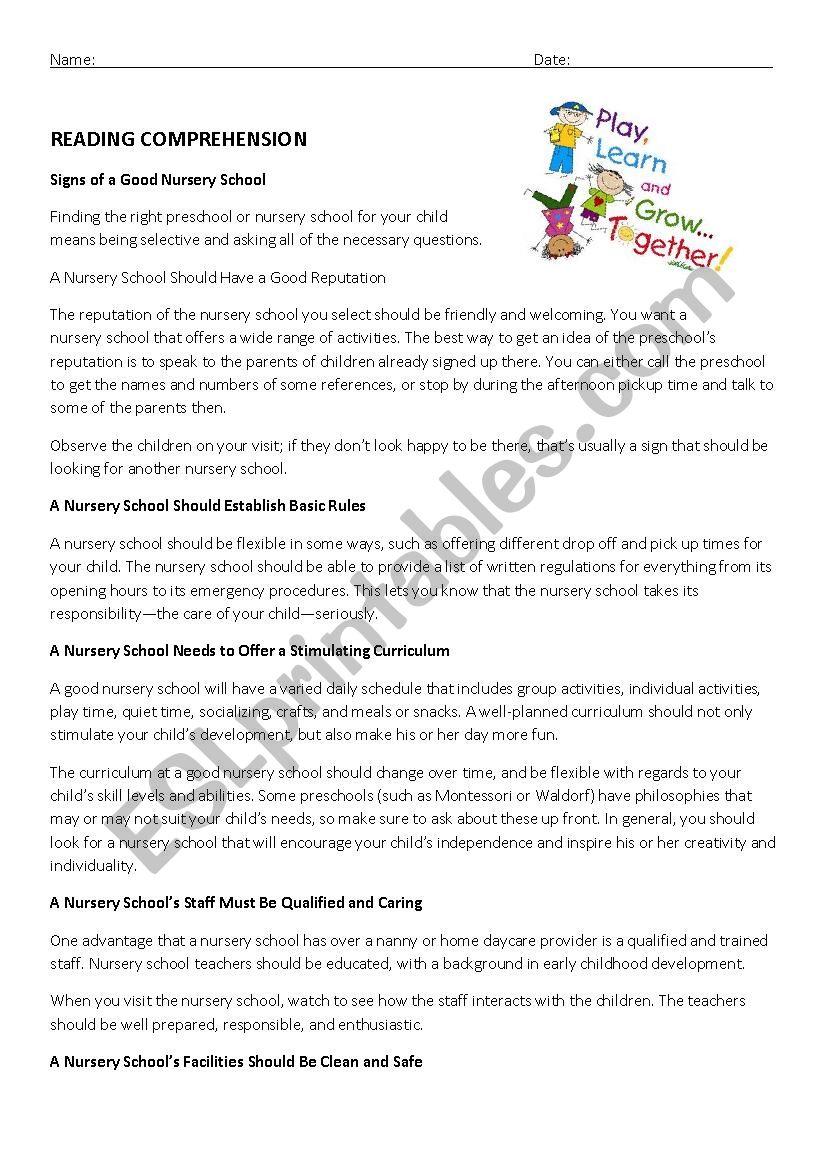Class test nursery school - ESL worksheet by Uschiglitzer