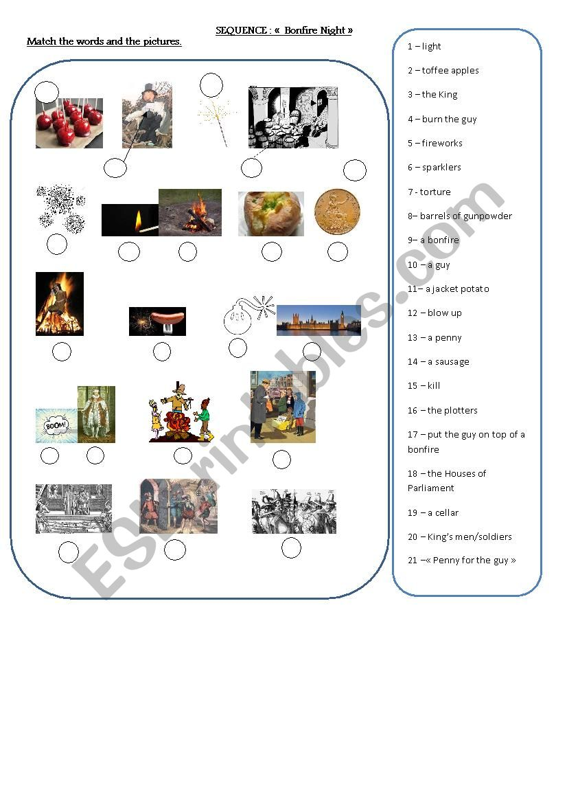 GUY FAWKES VOCABULARY worksheet