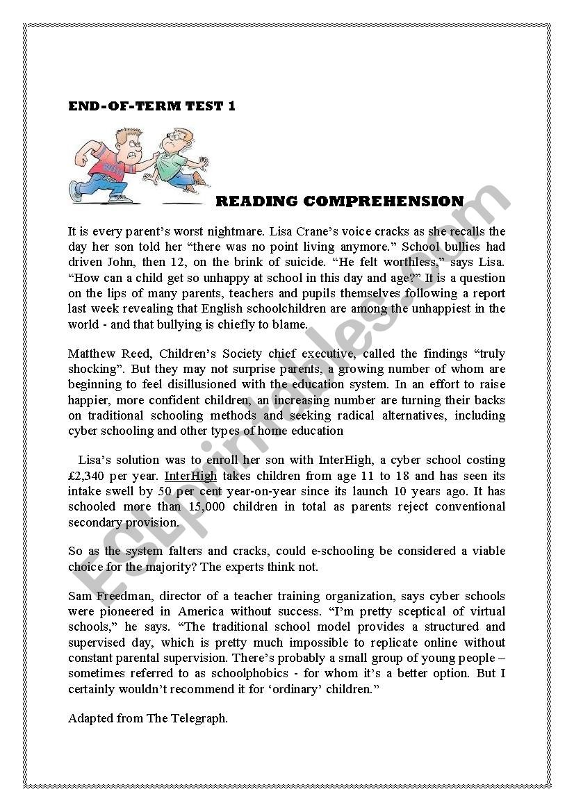 reading comprehension  4th formers